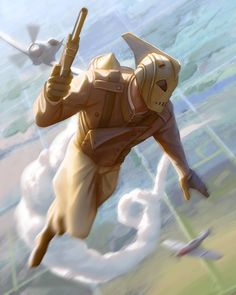 I know, we're getting a lot of pictures of The Rocketeer flying around. And there's a good reason for that. Don't lie, you know if they pysichs were guaranteed to work you'd be all over it too. Comic Book Characters, Comic Character, Comic Books Art, Comic Art, Science Fiction Art, Pulp Fiction, Character Creation, Character Design, Adam Ford