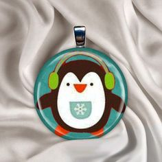 Penguin Earmuffs Button Pendant - $3.50