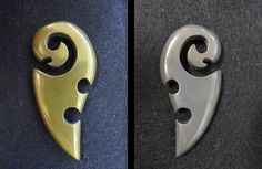 Maori head and Whale tail - One piece Brass and Iron carving