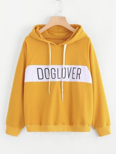 To find out about the Letter Print Color Block Hoodie at SHEIN, part of our latest Sweatshirts ready to shop online today! Long Sleeve Tops, Long Sleeve Shirts, Yellow Hoodie, Sports Hoodies, Casual Tops, Hooded Sweatshirts, Pullover, Clothes, Letter