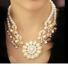 Colares Femininos Simulated Pearl Necklace for Women Fashion Gold Beads #Unbranded