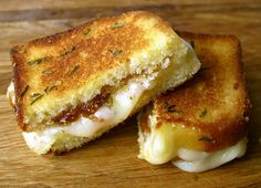 grilled cheese with brie, fig jam, and rosemary butter
