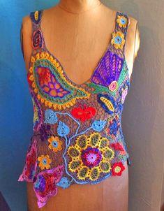 Beautiful freeform #crochet top from Mirtooli's Crochet
