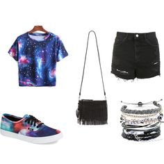 Galaxy by llllovemeforeva on Polyvore featuring Topshop, Vans, Sam Edelman and Domo Beads