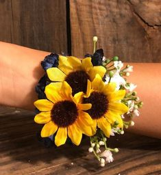 Navy blue and sunflowers wrist corsage Navy blue wedding Wrist corsage Sunflower wedding Fall wedding Thank you for stopping by my shop! Will you have an outdoor, sunflower, country, rustic wedding? Blue Wedding, Fall Wedding, Wedding Flowers, Rustic Wedding, Prom Flowers, Nautical Wedding, Diy Wedding, Sunflower Corsage, Sunflower Bouquets