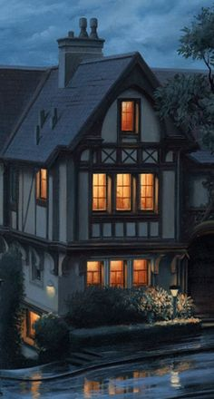 "Like a moth in the summertime, I am so very drawn to those lights in the windows....  (detail from ""An Evening Journey"" by Eugene Lushpin)."