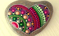 Big Heart Dot Art Mandala Painted Stone Fairy Garden Gift Decoration Painted rock Beachstone by carey Mandala Art, Mandala Rocks, Mandala Painting, Pebble Painting, Dot Painting, Pebble Art, Stone Painting, Heart Painting, Mandala Painted Rocks