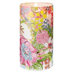 """Lilly Pulitzer for Target Glass Hurricane Candle Holder - Nosey Posie (10)"""""""