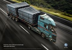 """Surprising, what can fit into the dead angle,"" says this ad for the Volkswagen Side Assist, which claims to warn you of approaching traffic before changing lanes. By Grabarz & Partner, Hamburg."
