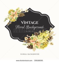 Illustration with watercolor flowers. Beautiful christmas bouquet and headline with winter flowers and plants on white background. Composition with berries, poinsettia and pinecone.  - stock photo