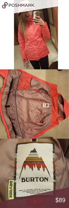 BURTON Jet Set Women's Snowboarding Jacket Color is coral. Waterproof (10,000mm), insulation (60g body/sleeves), slim fit, critcally taped seams, attatched adjustable powder skirt, underarm vents, internal mesh storage pocket, adjustable hems/hood/cuffs, zippered-hand pockets, media pocket (with headphone cord hole). I love this jacket it's just too small for me! Burton Jackets & Coats