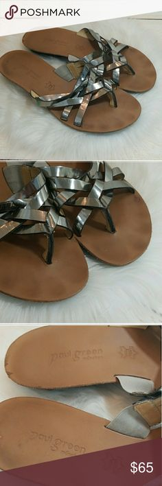 d39c627a60c Paul Green slip on strappy sandal metallic silver metallic silver straps  across top. has a mini wedge gently used Paul Green Shoes Sandals