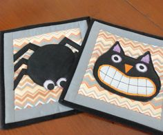 Halloween Quilted Pot Holders/ Hot Pads by homesewnbychristine