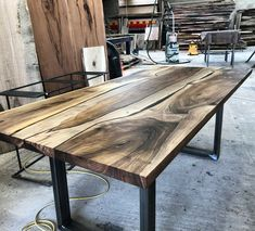 Wood Resin Table, Earthy Home, Wood Table Design, Walnut Dining Table, Live Edge Table, Solid Wood Dining Table, 3 Kids, Home Office Furniture, Table Desk