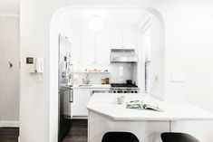 Check out the renovation of a true one-bedroom apartment in Manhattan's Chelsea neighborhood completed by a Sweeten general contractor. Kitchen Interior, Kitchen Design, Real Kitchen, Apartment Renovation, One Bedroom Apartment, Home Remodeling, Chelsea, Interior Decorating, Dividing Wall
