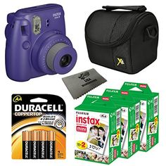 Fujifilm Instax Mini 8 Instant Film Camera 5in1 Set  3 Packs Fuji Film Instant Film Twin Pack Total 60 Sheets  Compact Camera Case  Pack of AA Batteries  Lens Cleaner Cloth Bundle Grape -- Check this awesome product by going to the link at the image.