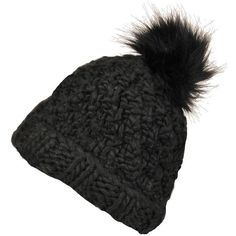 Black Rivet Beanie w/FauxFur Pom ($15) ❤ liked on Polyvore featuring accessories, hats, beanie cap, chunky beanie, faux fur pom pom beanie, pom pom beanie and faux fur hat
