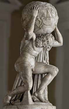 """Atlas (""""Farnese"""") holding up the celestial sphere, Roman statue (marble), copy after Hellenistic original, 3rd century AD? (original 2nd c. BC), (Museo Archeologico Nazionale, Naples)."""