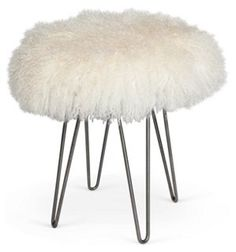 curly hairpin steel stool ivory okl