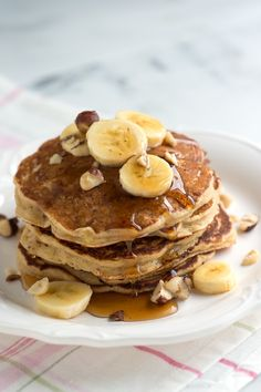 Spiced Buttermilk Banana Pancakes Recipe from www.inspiredtaste.net #recipe #pancakes