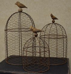 shabby chic french country | New-Shabby-French-Country-Cottage-Chic-Set-of-3-RUSTY-WIRE-BIRD-DOME ...