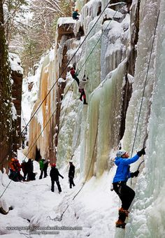 Ice climbing the Flume in Franconia Notch, New Hampshire, U.S.A.