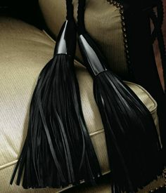 """ebony"" long black curtain tassel tieback 