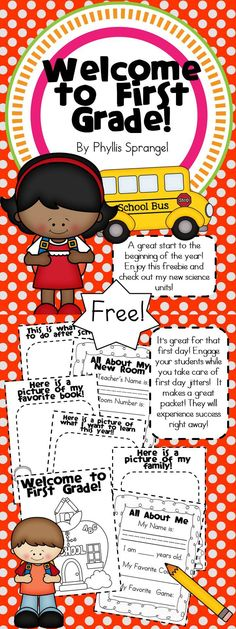 Welcome to First Grade Great way to start the year! Get to know your students and engage them while you solve first day jitters! Start the year out great! Makes a fantastic first day packet! - Back To School First Day Of School Activities, Teaching First Grade, First Grade Teachers, 1st Day Of School, First Grade Classroom, Beginning Of The School Year, School Classroom, Classroom Activities, School Fun