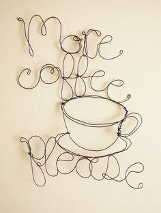 More Coffee Please wire art by Jennifer Swift - fil de fer I Love Coffee, Coffee Art, Coffee Shop, Drawing Coffee, Coffee Meme, Coffee Painting, Coffee Signs, Hot Coffee, Coffee Drinks
