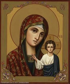 Kazan Mother Of God - wood, egg tempera Russian Icons, Tempera, Egg, Wood, Artwork, Eggs, Madeira, Egg As Food, Work Of Art