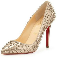 Christian Louboutin Pigalle Spikes Red Sole Pump, Beige/Gold on shopstyle.com