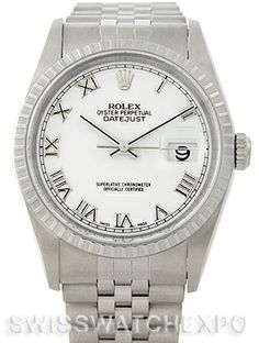 Rolex Datejust White Roman Dial Mens Steel Watch 16220