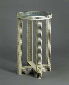 Josef Hoffman, Enameled Zinc Smoking Table for Wiener Werkstatte, 1910.