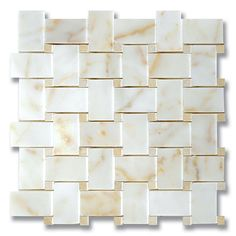 Size: 9 3/4″x9 3/4″ Sheet Size Material: Stone Finish: Polished or Honed Usage: Interior Description: Afyon Sugar Polished Marble Basketweave Mosaic with Polished Jerusalem Gold Accents Notes: Available in alternate colors.
