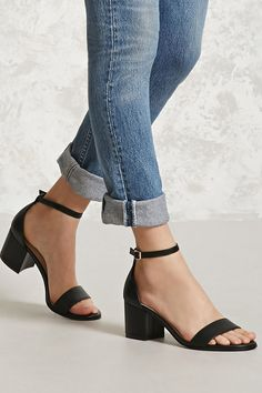Faux Leather Ankle-Strap Heels   Forever 21 - 2000321845