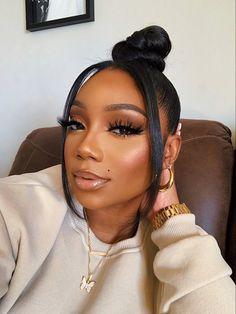 Natural Glam Makeup, Glam Makeup Look, Glamour Makeup, Makeup Eye Looks, Cute Makeup, Pretty Makeup, Natural Hair, Makeup For Black Skin, Black Girl Makeup
