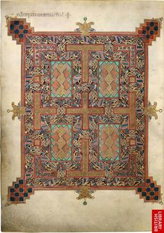 A carpet page in the Lindisfarne Gospels. Lindisfarne, late 7th or early 8th century.  British Library, London, Cotton MS Nero D.IV, Copyright the British Library.