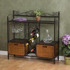 Wine Rack Kitchen Bakers Shelf Wicker Accent Furniture Storage Bin Metal Shelves #HollyMartin