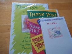 GREETING CARD, 3 X THANK YOU CARDS, WITH ENVELOPES