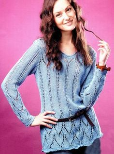 Free Knitting Patterns - Tunic with Lace Edging Knitting Patterns Free, Free Knitting, Free Pattern, Crochet Patterns, Tunic Pattern, Knit Crochet, Sweaters, How To Make, Collection