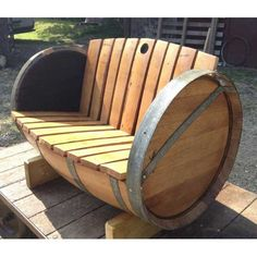 Oak Barrel Garden Bench