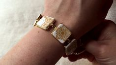 Broken China jewelry | Vintage gold Corelle plate recycled into a bracelet
