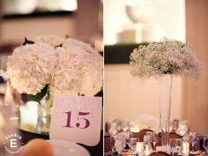 winter wedding, baby's breath, baby's breath centerpiece, hydrangea centerpiece, white hydrangea, ornate table number, purple table number