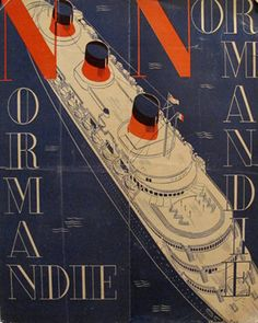 Original Normandie Ocean Liner Information Pamphlet, Linen-Backed Cover,1935 - Herbert Libiszewski