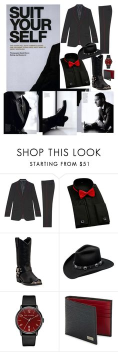 """""""Suit Yourself- Cowboy Edition"""" by scope-stilettos ❤ liked on Polyvore featuring Gucci, Dingo, Master Hatters of Texas, Ted Baker, Salvatore Ferragamo, men's fashion and menswear"""