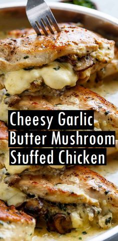 Cheesy Garlic Butter Mushroom Stuffed Chicken - use zanthum gum to thicken instead of cornstarch for Keto Healthy Recipes, Low Carb Recipes, Easy Recipes, Vegetarian Recipes, Delicious Recipes, Garlic Butter Mushrooms, Bacon Mushroom, Chicken Mushrooms, Recipe With Mushrooms