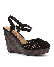 Black (Black) Black Crochet Wood Effect Wedges  | 276077801 | New Look