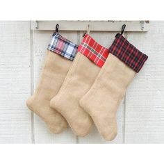 Burlap and Plaid Flannel Christmas Stockings, Made to Order, Heirloom,... ($40) ❤ liked on Polyvore featuring home, home decor, holiday decorations, plaid home decor, plaid christmas stockings, burlap home decor and burlap christmas stockings