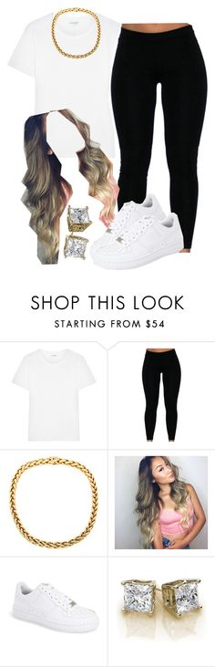 """""""White tee squad 01"""" by trillest-queen ❤ liked on Polyvore featuring Yves Saint Laurent, NIKE, women's clothing, women, female, woman, misses and juniors"""