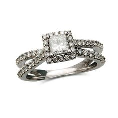 1 CT. T.W. Princess-Cut Diamond Frame Split Shank Ring in 14K White Gold